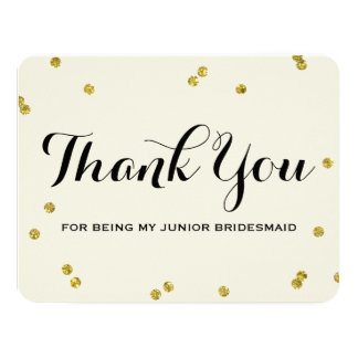 Gold Glitter | Junior Bridesmaid Thank You Cards