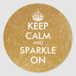 Gold glitter Keep calm and sparkle on stickers