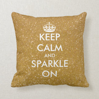 Gold glitter Keep calm and sparkle on throw pillow