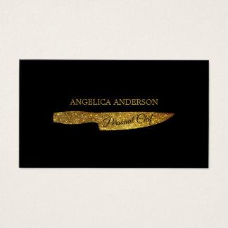 Gold Glitter Knife Business Card