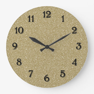 Gold Glitter Large Clock