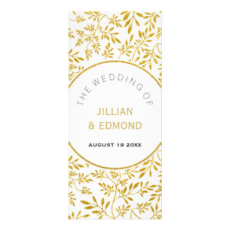 Gold glitter leaves pattern wedding program rack card