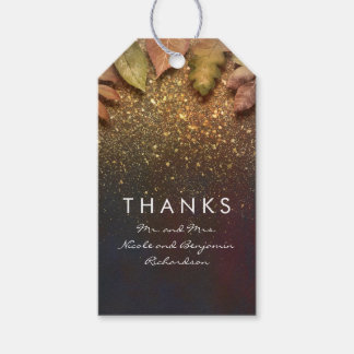 Gold Glitter Leaves Vintage Fall Wedding Gift Tags