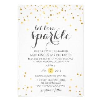 Gold Glitter Let Love Sparkle Wedding invitation