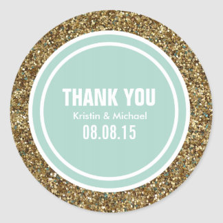 Gold Glitter Light Mint Custom Thank You Label Round Sticker