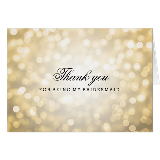 Gold Glitter Lights Thank You Bridesmaid Card
