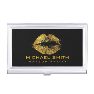 Gold Glitter Lips #2 Case For Business Cards