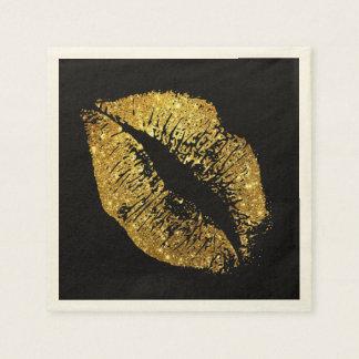 Gold Glitter Lips #3 Paper Serviettes