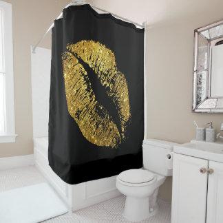 Gold Glitter Lips #4 Shower Curtain