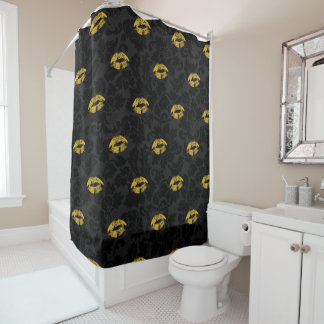 Gold Glitter Lips  And Damask Shower Curtain
