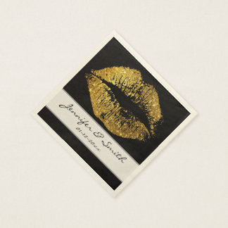 Gold Glitter Lips Disposable Napkins