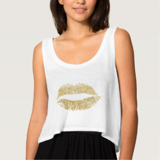 Gold Glitter Lips Kiss Singlet