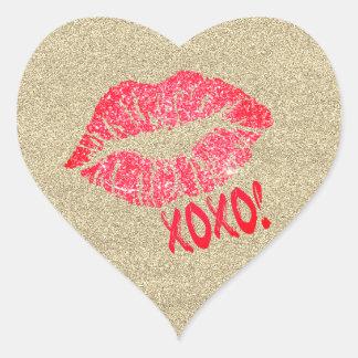 Gold Glitter Lips Kiss XOXO Heart Sticker