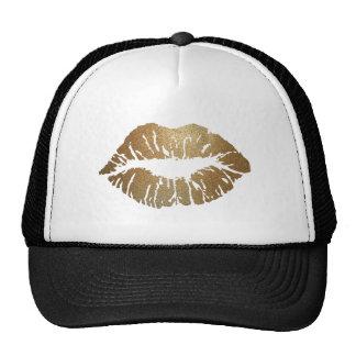 Gold glitter lips, luxury style cap