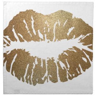 Gold glitter lips, luxury style napkin