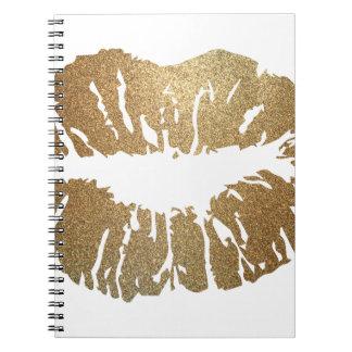 Gold glitter lips, luxury style notebooks