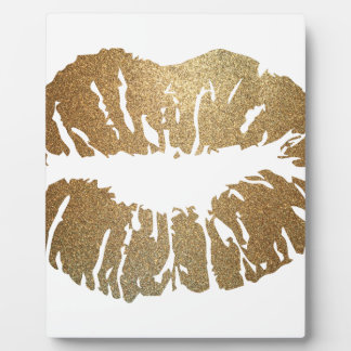 Gold glitter lips, luxury style plaque