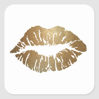 Gold glitter lips, luxury style square sticker