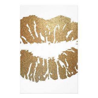 Gold glitter lips, luxury style stationery