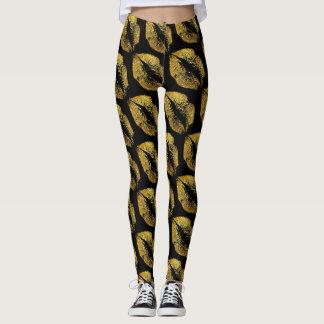 Gold Glitter Lips Modern Black Leggings