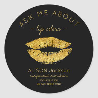 Gold glitter lips print black ask me promotional classic round sticker