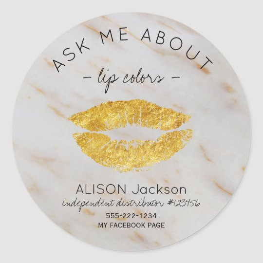 Gold glitter lips print marble ask me promotional classic round sticker