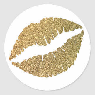 Gold Glitter Lips Round Sticker