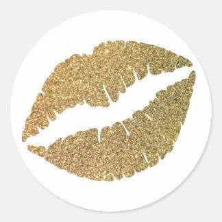 Gold Glitter Lips Round Sticker