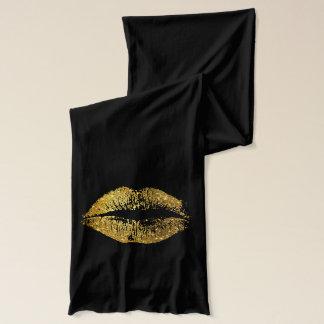 Gold Glitter Lips Scarf