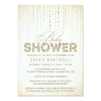 Gold Glitter Look Baby Shower Invitation