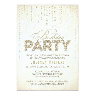 Gold Glitter Look Birthday Party 13 Cm X 18 Cm Invitation Card