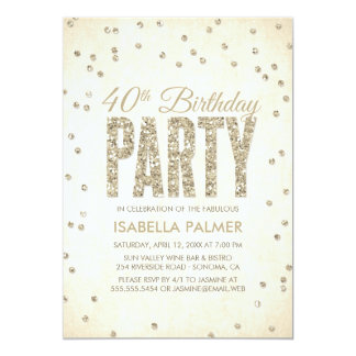 Gold Glitter Look Confetti 40th Birthday Party 13 Cm X 18 Cm Invitation Card