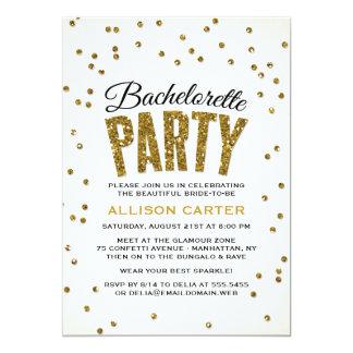 Gold Glitter Look Confetti Bachelorette Party 13 Cm X 18 Cm Invitation Card