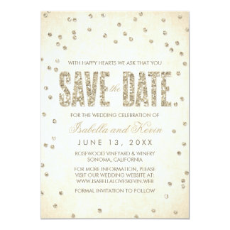 Gold Glitter Look Confetti Dots Save the Date Card