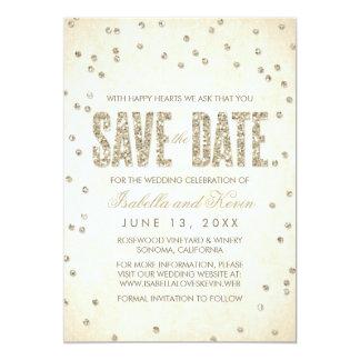 Gold Glitter Look Confetti Dots Save the Date 13 Cm X 18 Cm Invitation Card