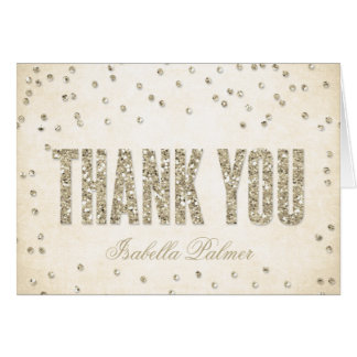 Gold Glitter Look Confetti Dots Thank You Card