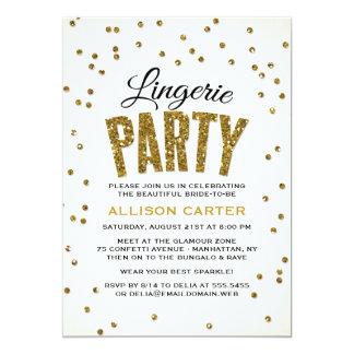 Gold Glitter Look Confetti Lingerie Party 13 Cm X 18 Cm Invitation Card