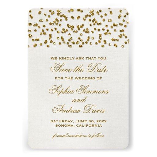 Gold Glitter Look Confetti Save the Date Personalized Invitation