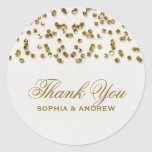 Gold Glitter Look Confetti Thank You Sticker