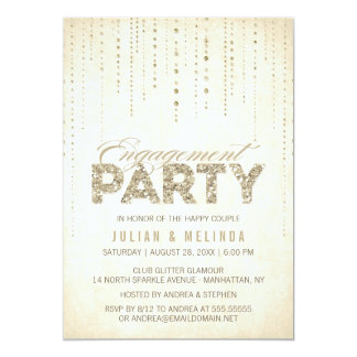Gold Glitter Look Engagement Party Invitation