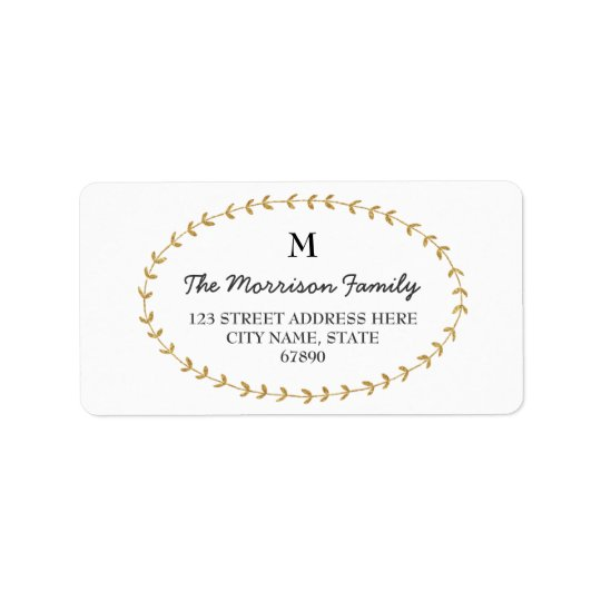 Gold Glitter Look Laurel Monogram Address Labels