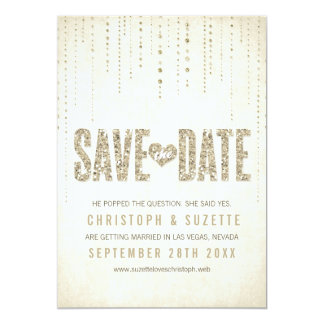 Gold Glitter Look Save The Date Announcement