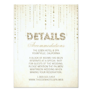 Gold Glitter Look Wedding Details Card