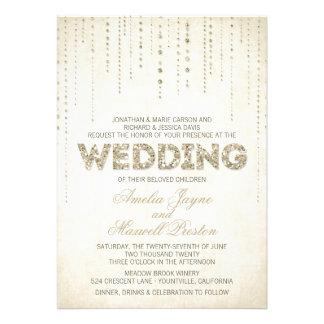Gold Glitter Look Wedding Invitation