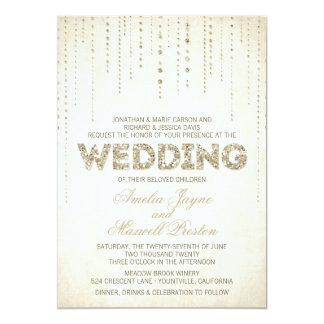 "Gold Glitter Look Wedding Invitation 5"" X 7"" Invitation Card"