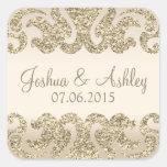 Gold Glitter Look Wedding Square Sticker