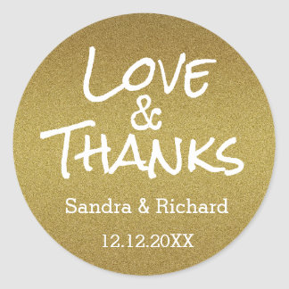 Gold Glitter Love And Thanks  Wedding Favor Round Sticker