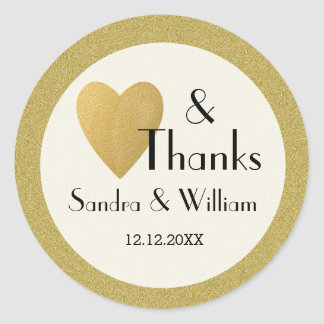Gold Glitter Love And Thanks Wedding Round Sticker