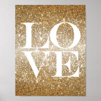 Gold Glitter Love Poster