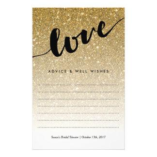 Gold Glitter Love Script Bridal Shower Advice Flyer